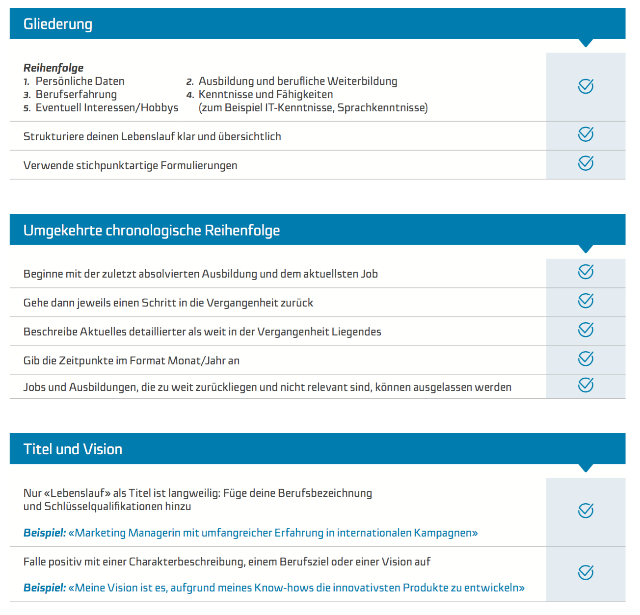 Checkliste Lebenslauf Job Coach